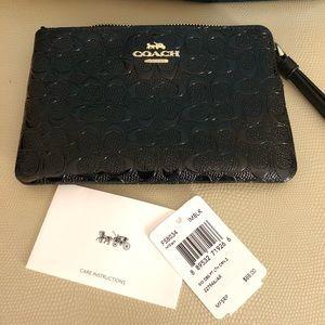 Coach patent leather corner zip wristlet